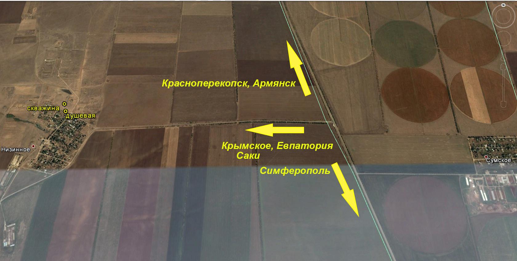 Низинное, поворот на Крымское, скважина термальной воды. Схема.