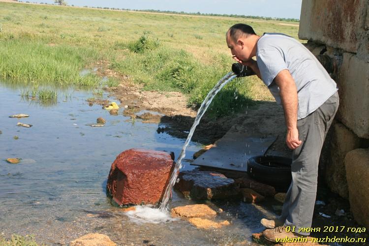 Низинное Сакского района Крыма. Термальная вода самоизливающей скважины
